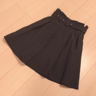 evelyn - アンミール ベルト付き膝丈スカート 黒