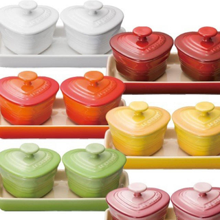 ルクルーゼ(LE CREUSET)のルクルーゼ ラムカン・ダムール フタ付 ハート型 ココット皿(食器)