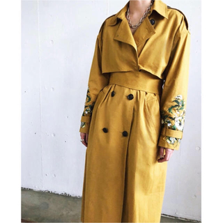 Ameri VINTAGE - 完売品 希少 CLANE トレンチコート 刺繍 イエロー スプリングコート