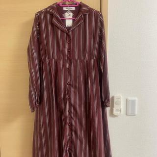 EMSEXCITE - ガウンワンピース フロントボタンワンピース 羽織り ガウン ボーダー  春