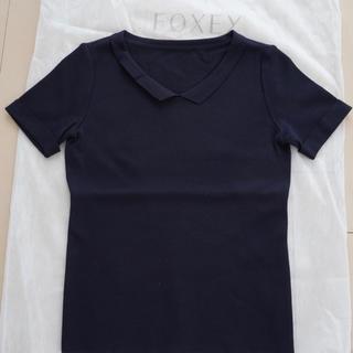 FOXEY - フォクシー❤︎ 半袖ニット 襟付き ネイビー 38