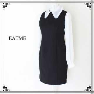 EATME - 美品 イートミー★オーガンジー シフォンスリーブワンピース 黒×白 99(F)