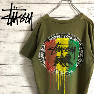 STUSSY - 【激レア】ステューシー☆マルチカラービッグロゴ カーキ 半袖Tシャツ メキシコ製