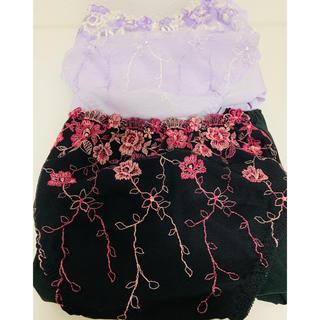 ニッセン - 花柄ショーツ  色: 黒/紫  サイズ: 3L-4L 2セットおまとめ