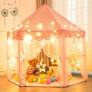 ピンク2キッズテント Wilwolfer プリンセス城型 子供用テント キッズプ