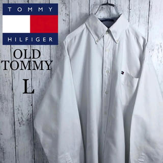 TOMMY HILFIGER - 【希少】【ジャマイカ製】【オールドトミー】BDシャツ☆フラッグロゴ☆L☆白