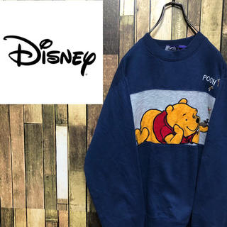 ディズニー(Disney)の【激レア】ディズニー☆くまのプーさんビッグキャラ刺繍ラインスウェット 90s(スウェット)