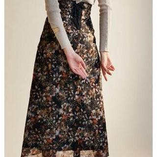 Lily Brown - リリーブラウン ぼかし花柄刺繍スカート