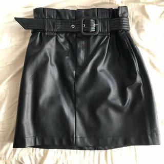 ZARA - ZARA【新品未使用】ベルト付きレザーミニスカート