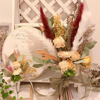 【saori 様ご注文用】ラナンキュラスとミモザのウエディングブーケ&ブートニア(ブーケ)