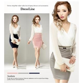JEWELS - 新品未使用 ドレスライン ワンピース  ドレス ホワイト×ピンク  L