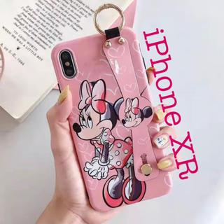 ミニーマウス(ミニーマウス)の〖激安〗iPhoneXR スマホケース ミニー バンドホルダー付き✦ピンク(iPhoneケース)