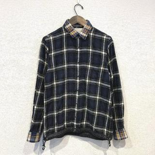sacai - sacai サカイ チェック フランネル ドローストリング シャツ 紺 1