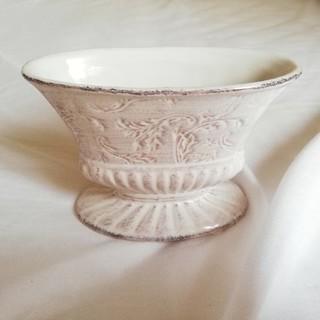 フラワーアレンジメント用花器 ビンテージ風 ホワイト 花柄(花瓶)