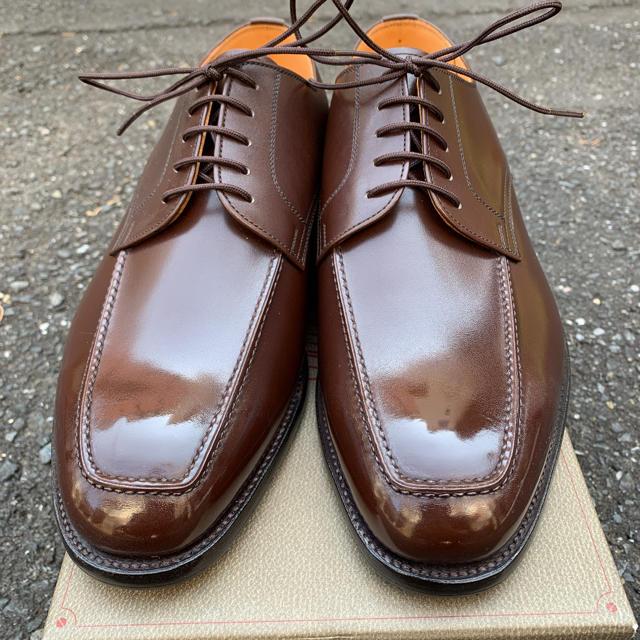 【新品未使用】スコッチグレイン 外羽根モックトゥ 茶 定価約3.8万 メンズの靴/シューズ(ドレス/ビジネス)の商品写真