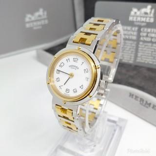 Hermes - 美品 新品電池交換済み エルメス クリッパー コンビ レディースモデル 腕時計