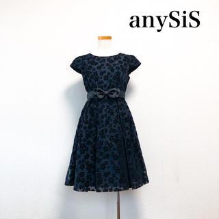 エニィスィス(anySiS)のanySiS 膝丈 ドレス ワンピース リボンベルト付♡ ネイビー 大人可愛い(ミディアムドレス)
