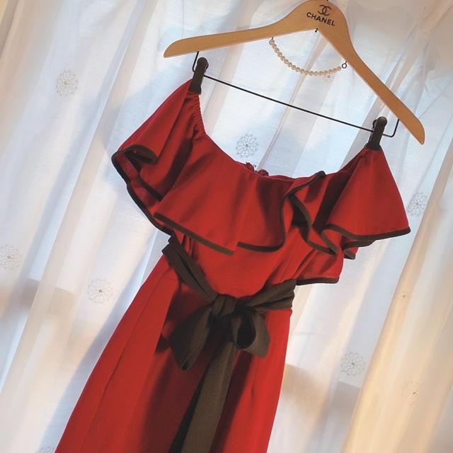 Andy(アンディ)の赤 オフショルドレス レディースのフォーマル/ドレス(ミニドレス)の商品写真