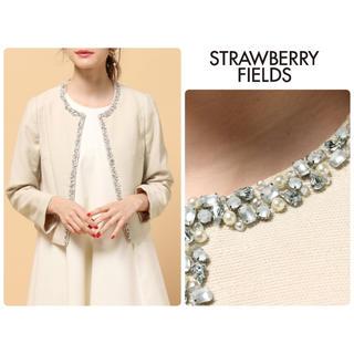 STRAWBERRY-FIELDS - 美品 ストロベリーフィールズ♡上品ノーカラービジュージャケット