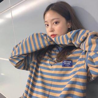 ボーダーロンT カラフル ラフカジュアル かわいい 韓国ファッション