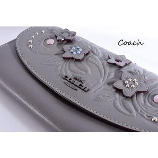 COACH - コーチ 新品♡長財布 上品 美しい花飾り 3D 綺麗な浮彫 繊細な巧の技 革♪