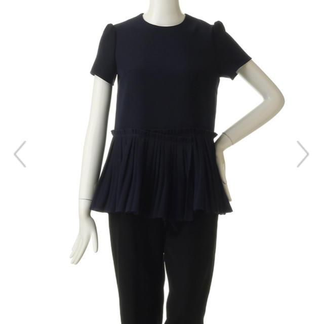 Drawer(ドゥロワー)の新作!ボーダーズアットバルコニー ツイルTシャツ 38 ネイビー 試着のみ レディースのトップス(Tシャツ(半袖/袖なし))の商品写真