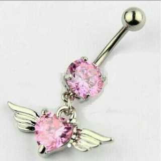 ピンク ボディピアス 14G サージカルステンレス ハート 天使の羽