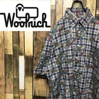 WOOLRICH - 【激レア】ウールリッチ☆USA製半袖フィッシング総柄チェックワークシャツ 90s