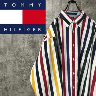 TOMMY HILFIGER - 【激レア】トミーヒルフィガー☆オールド刺繍ボールドマルチストライプシャツ 90s