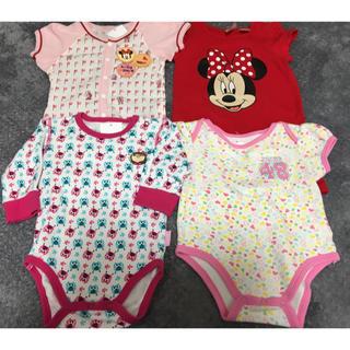 Disney - 春夏生まれ女の子出産準備お買い得ロンパース4枚セットプーマディズニーミニー半長袖