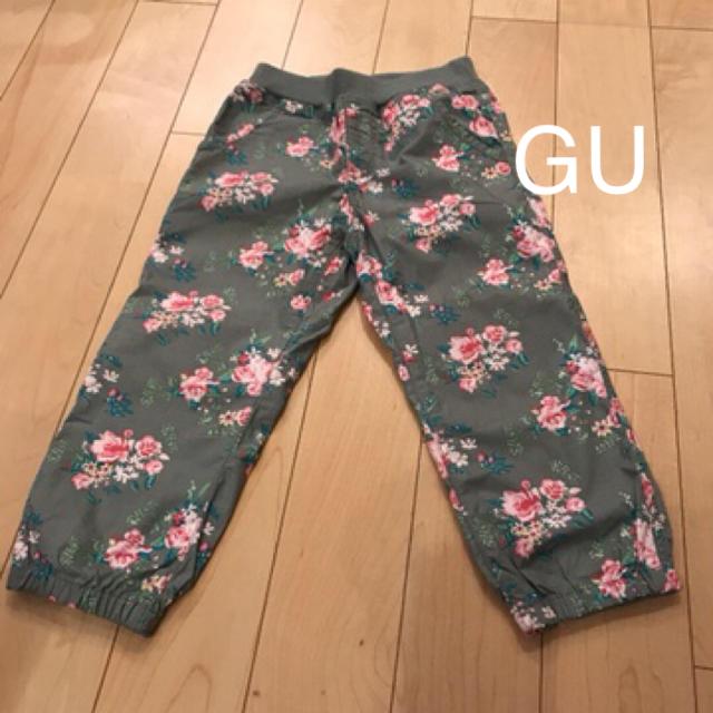 GU(ジーユー)のGU 花柄カーキ パンツ キッズ/ベビー/マタニティのキッズ服女の子用(90cm~)(パンツ/スパッツ)の商品写真