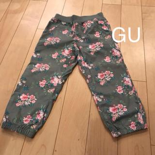 GU - GU 花柄カーキ パンツ