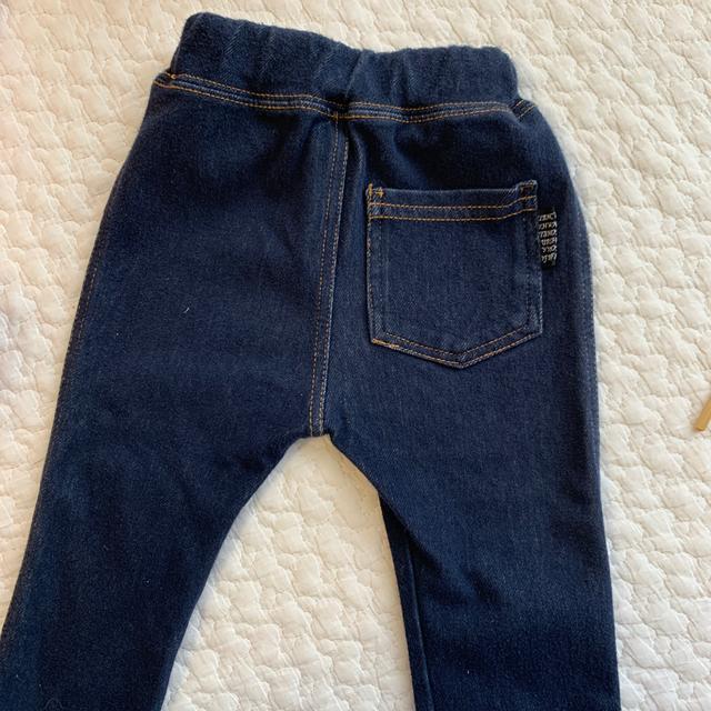 UNIQLO(ユニクロ)のユニクロ 西松屋 ギンガムチェック デニム風 レギンス スパッツ 80 キッズ/ベビー/マタニティのベビー服(~85cm)(パンツ)の商品写真