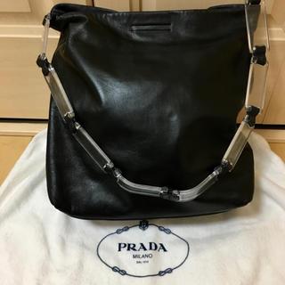 PRADA - PRADA クリアアクリルハンドルレザーショルダーバック リカラー品