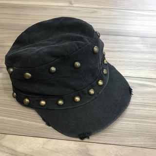 moussy - マウジー  moussy ダメージスタッズキャスケット 黒 ブラック 帽子 中古