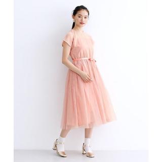 メルロー(merlot)のメルロー デコルテ シースルー ワンピース チュールスカート ピンク(ミディアムドレス)