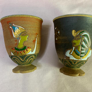 ファラオと女王の陶製ワイングラス(グラス/カップ)