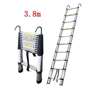 伸縮はしご 最長3.8m耐荷重150kg 伸縮梯子 (3.8Mフック付き)