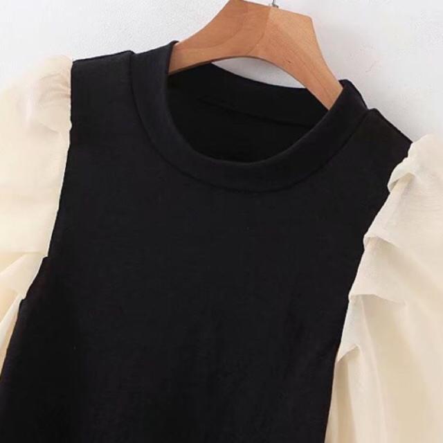 ZARA(ザラ)のインスタでも大人気♡袖切り替えカットソー♡こなれ感♡ボリュームスリーブ レディースのトップス(カットソー(長袖/七分))の商品写真