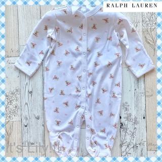 Ralph Lauren - 6m70cm ラルフローレン BABY 長袖ロンパース フラグベア ピンク