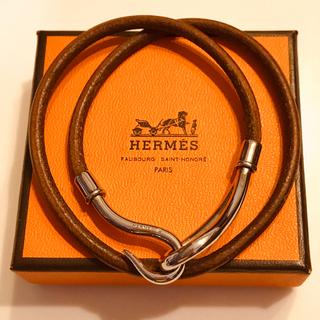 Hermes - HERMES エルメス ジャンボブレス チョーカー レザー シルバー金具