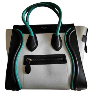 celine - 美品 Celine セリーヌ ラゲージ ファントム 白黒緑 保護袋付き
