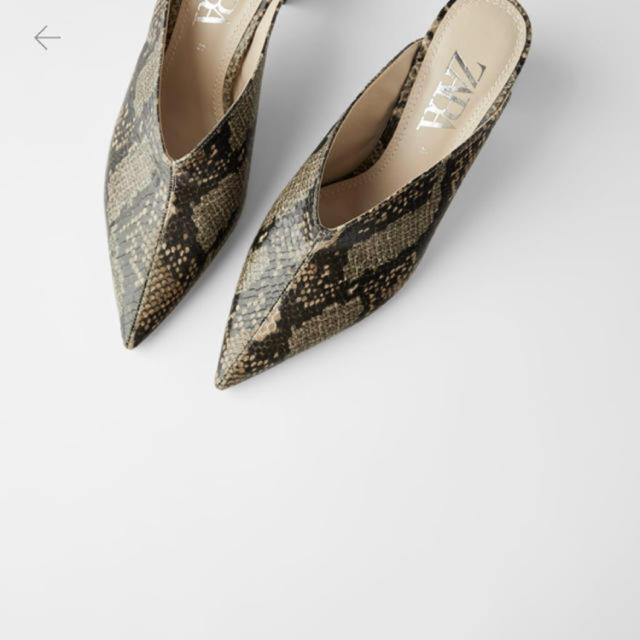 ZARA(ザラ)のZARA アニマル柄ハイヒールミュール レディースの靴/シューズ(ハイヒール/パンプス)の商品写真