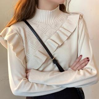 dholic - 無地長袖シンプルファッションハイネックプルオーバーニットセーター