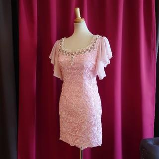 ジュエルズ(JEWELS)のJ17309 新品 M ドレス Jewels ピンク フレア袖 レース ビジュー(ミニドレス)