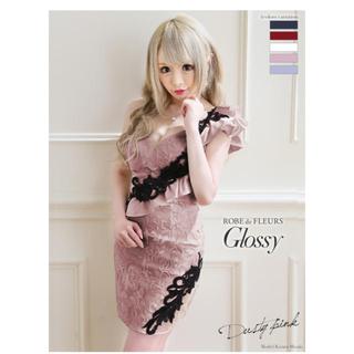 ROBE - robe de fleurs glossyアシンメトリー×フリルタイトドレス