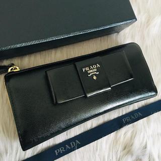 PRADA - 美品 プラダ 長財布 L字ファスナー リボン コンパクト