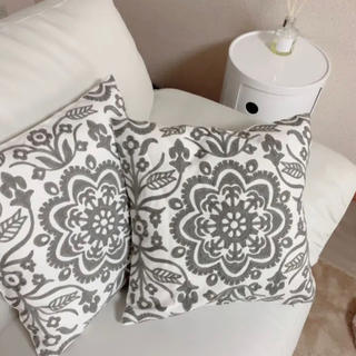 Francfranc - ボタニカル 刺繍 クッションカバー  2枚セット グレー