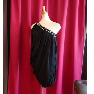 ジュエルズ(JEWELS)のJ17296 新品 M ミニドレス Jewels ブラック アシメ ドレープ(ミニドレス)