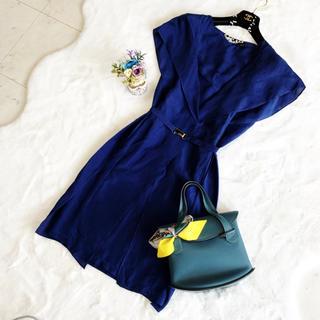 FENDI - 良品 フェンディ シルク100% ブルー ワンピース ドレス ベルト付き